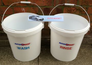 2 x Car Wash Buckets (20 Litres) Wash & Rinse, with Autosmart labels 20L